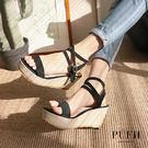 PUFII-涼鞋 一字繞踝楔型涼鞋-0328 現+預 春【CP16134】