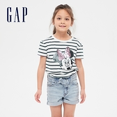 Gap女童 Gap x Disney 迪士尼系列亮片短袖T恤 552622-海軍藍條紋