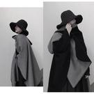 仿羊絨扎染黑白雙面披肩裝飾圍巾簡約斗篷保暖加厚圍脖冬 黛尼時尚精品