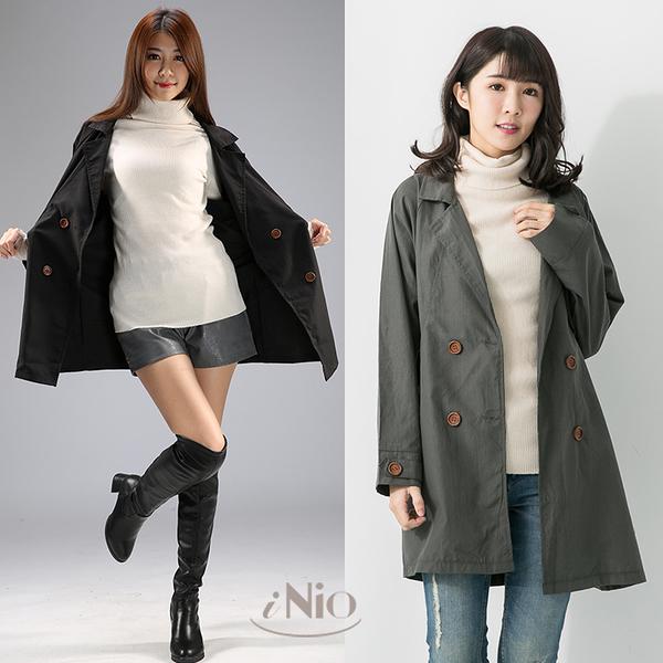 西裝領雙排釦薄外套(S-L適穿)- 現貨快出【C7W4007】iNio衣著美學