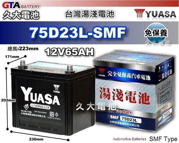 ✚久大電池❚ YUASA 湯淺 75D23L-SMF 免保養汽車電瓶 2003`~2007`雅歌 ACCORD 3.0