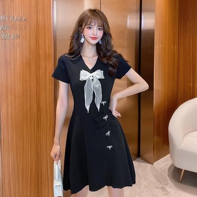 小禮服 洋裝 赫本風連身裙女復古小黑裙蝴蝶結仙女氣質小裙子3022T646紅粉佳人