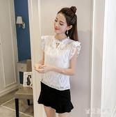 蕾絲衫 2018夏新款短袖圓領鏤空修身純色女氣質上衣 BF5451『寶貝兒童裝』
