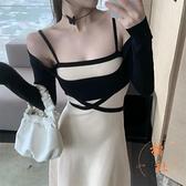 針織吊帶連衣裙女抹胸性感大擺中長裙氣質修身裙子【橘社小鎮】