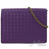 茱麗葉精品【全新現貨】BOTTEGA VENETA 508752手工編織羊皮復古鍊包.紫