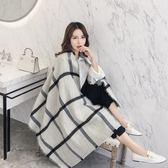 圍巾-英倫時尚經典格紋羊毛長披肩73pz26【巴黎精品】