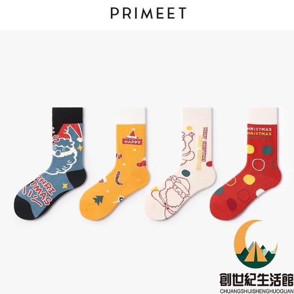 圣誕襪子女中筒襪可愛棉襪日系情侶長襪【創世紀生活館】