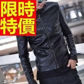 機車夾克-修身搖滾風率性粗曠男皮衣外套61e12【巴黎精品】