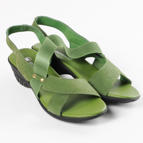 GREEN PINE 素面彈性鬆緊帶高跟涼鞋-綠色