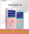 【萌萌噠】歐珀 OPPO R9 / R9 Plus 卡通彩繪保護套 超薄側翻皮套 開窗 支架 插卡 磁扣 手機套