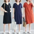 棉質V領舒適雙口袋洋裝-多尺碼 獨具衣格...