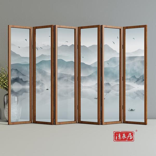 屏風屏風隔斷牆遮擋家用裝飾中式客廳臥室辦公室酒店餐廳實木行動折疊  快速出貨