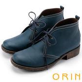 ORIN 復古學院 素面牛皮綁帶踝靴-藍色
