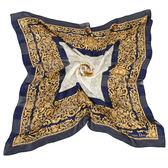 Christian Dior 古典雕花紋緞面領帕巾(藍) 179011-1