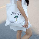 帆布袋 印花 手提包 帆布包 手提袋 環保購物袋--手提/單肩/拉鏈【SPWJ01】 BOBI  03/22