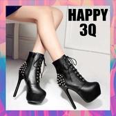 歐美性感龐克圓頭鉚釘厚底真皮短筒高跟短靴冬靴黑色馬丁靴35-40【AAA0853】預購