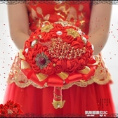 中國風仿真手捧花結婚中式婚禮紅色新娘流蘇高端創意緞帶diy 教主雜物間