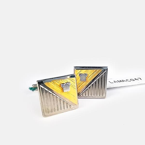 [ NG大放送 ]LANVIN双色刻紋金屬袖扣(銀色)880062-20