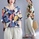 棉綢彩色波點印花上衣-大尺碼 獨具衣格 J3700