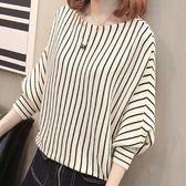 ZUCAS~(RF-8991)韓版撞色直條紋袖口縮口短版圓領泡泡袖長袖毛衣針織衫