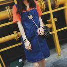 (全館一件免運)DE shop -夏約輕甜.時尚顯廋前後雙口袋造型吊帶牛仔裙。 S/M/L【A-0157】