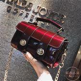 漆皮小包包女新款韓版百搭chic鏈條波士頓單肩斜挎包 【販衣小築】