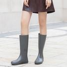 日系簡約輕便時尚款外穿雨靴長筒水鞋防水防滑膠鞋高筒水靴雨鞋女 快速出貨