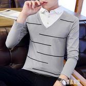 男士長袖t恤翻領韓版男裝polo衫秋衣襯衫領假兩件新款打底衫 XN4997【優品良鋪】