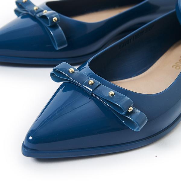 Petite Jolie 鉚釘蝴蝶結瑪麗珍平底鞋-湛藍