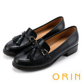 ORIN 學院復古 蠟感牛皮流蘇樂福鞋-黑色