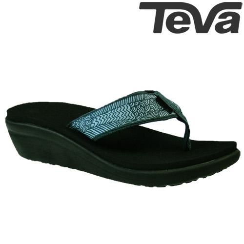 TEVA《女款》超輕量舒適記憶鞋床寬版織帶夾腳拖 Voya Wedge - 藍綠
