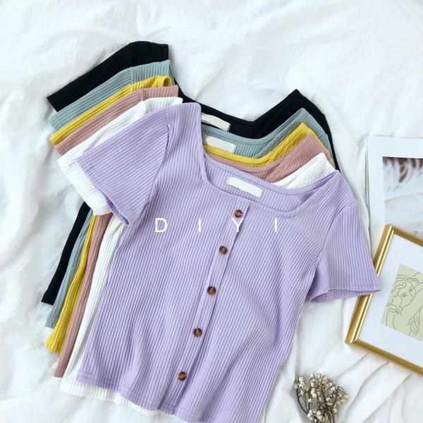 (免運)DE shop - 復古ins方領單排扣修身短袖T恤 - TT-1907