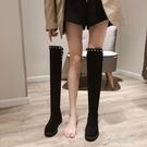 長靴 過膝長靴女2020年秋冬新款加絨小個子平底顯瘦高筒長筒馬丁靴絨面 原本良品