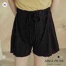 短褲 Space Picnic|正韓-素面坑條抽繩短褲(現+預)【K20065000】