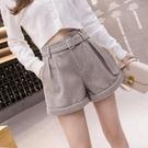 毛呢短褲女秋冬季新款加厚配靴子的打底高腰顯瘦寬褲子外穿 - 歐美韓