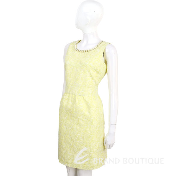 BLUGIRL 萊姆黃珍珠領無袖花苞洋裝 1620467-66