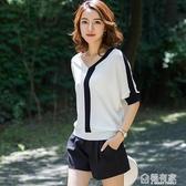 冰絲女T恤夏裝新款初秋寬鬆V領上衣薄款潮短袖條紋針織打底衫