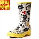中筒雨靴雨鞋-歐美潮流手繪印花女靴子鞋子66ak2【時尚巴黎】