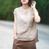 2021 夏文藝復古氣質凈色工裝口袋襯衫女立領無袖上衣寬鬆大碼棉麻陽光好物