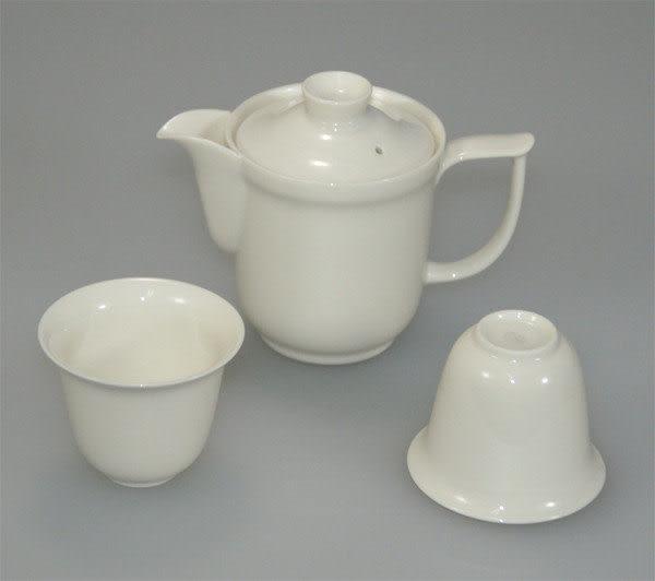 鹿港窯~居家開運商品~三希(台灣製)牙白色-茶具組(一壺二杯)
