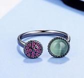 【A&Angel New York】時尚夢幻水鑽開口貓眼石戒指(綠色白色紫色3色)