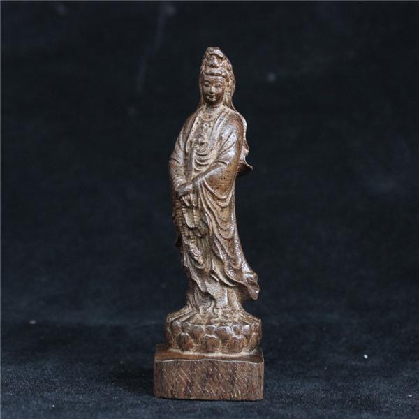 [協貿國際]越南天然沉香木木雕手把件觀音小1入