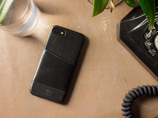 alto iPhone 8 / iPhone 7 真皮手機殼背蓋 4.7吋 Metro - 渡鴉黑 【可加購客製雷雕】皮革保護套