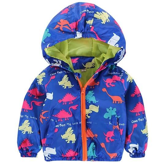 男Baby男童防風外套薄外套亮彩恐龍印花防風連帽外套現貨 出口日本品質