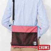 CHUMS 日本 Eco 休閒肩背扁包 桃紅 CH602360R066