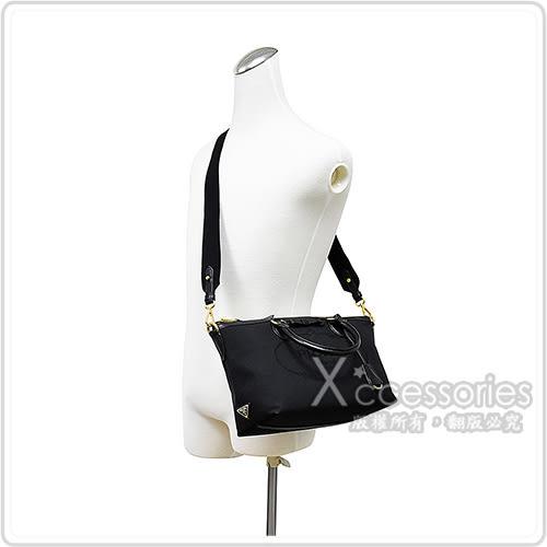 PRADA經典刺繡LOGO蝴蝶結設計牛皮滾邊帆布拉鍊手提斜背包(中/黑)