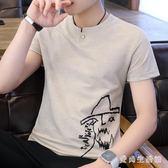 棉麻上衣夏季新款短袖t恤男士韓版潮流v領青年修身男裝 QX2802 『愛尚生活館』