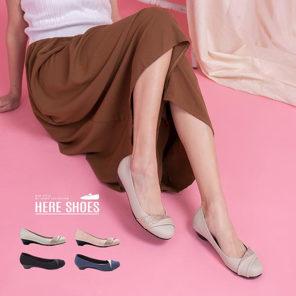 [Here Shoes]跟鞋-OL婚宴MIT台灣製素面楔型坡跟圓頭包鞋 娃娃鞋 便鞋懶人鞋─ANDW1726