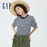 Gap女裝 厚磅密織系列碳素軟磨 基本款素色短袖T恤 735768-海軍藍條紋