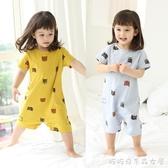 兒童連體睡衣夏季薄款短袖男童女童1嬰兒3歲純棉寶寶防著涼空調服快速出貨